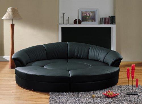 Vig Furniture Modern Black Leather Circular Sectional Sofa- Circle