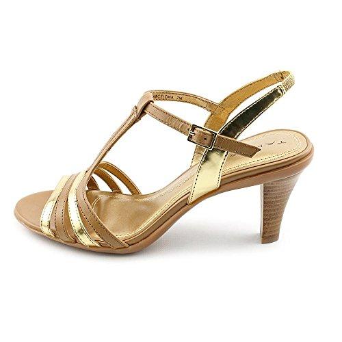 Tahari Barcelona - Sandalias de vestir de cuero para mujer Multicolor Tan/Gold