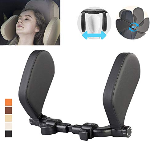 Car Seat Headrest Pillow,Head Neck Support Detachable,Premium seat held Pillow, 180 Degree Adjustable Both Sides Travel Sleeping Cushion for Kids Adults (Black)