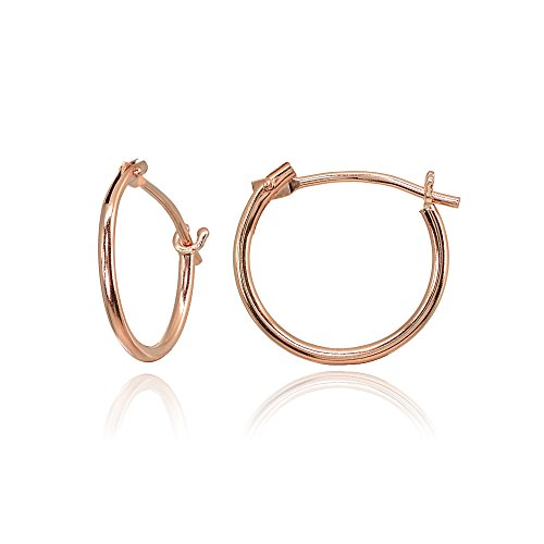 14K Rose Gold Tiny Small 12mm High Polished Round Thin Lightweight Unisex Hoop (High Polished Girl)