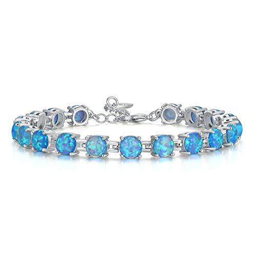 CiNily Blue Fire Opal Silver Plated Adjustable Gemstone Bracelet for Women Jewelry 7