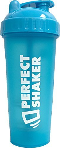 Performa Perfect Shaker - Classic Shaker Bottle, Best Leak Free Bottle with Actionrod Mixing Technology for Your Sports & Fitness Needs! Dishwasher and Shatter Proof (Neon Blue)