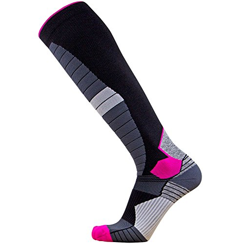Thermal Compression Ski Socks – Warm Socks for Skiing and Snowboarding (L, Black/Neon Pink)