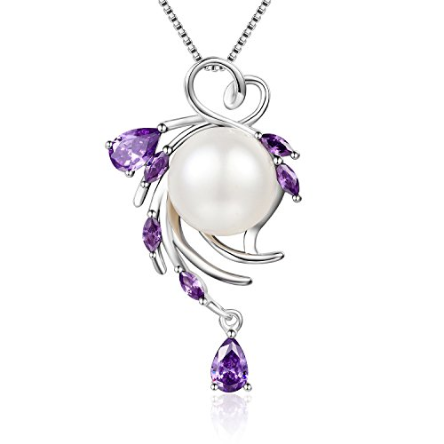 Cosysunny Valentines Day Gift for Women Natural Freshwater pearl Pendant Necklace 925 Sterling Silver Jewelry (Purple)