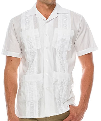 Volcan Men's Short Sleeve Cuban Guayabera Shirts (2XL, (Conference White T-shirt)