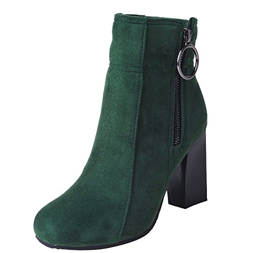 Mee Shoes Damen chunky heels Reißverschluss Kurzstiefel Grün