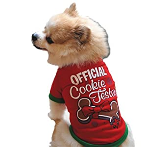 Howstar Christmas Pet Costume, Dog Clothing Cotton T shirt Jumpsuit Puppy Outfit (L, Red)