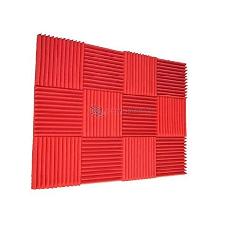 amazon com 12 pack all red acoustic foam sound proof foam acoustic