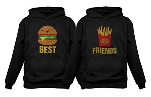 Best Friends Set BFF Hoodies Set Burger & Fries Junk-Food Matching Couple Hoodie Burger Black Large/Fries Black Small