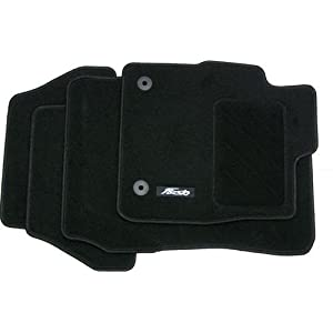 Carsio Tailored Black Carpet Car Mats for 2007-2014 4 Piece Set with 1 Oval Clip