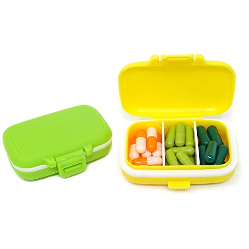 (Honbay 2PCS Vitamin Organizer Box Portable Small Pill Case with 3 Removable Compartments for Travel or Daily Use )