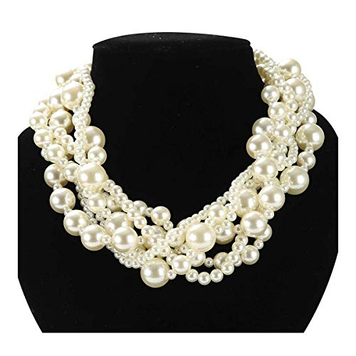 utop Straw Pearl Necklace Hand-Knitted Pearl Necklace from Antique Gold Nylon Yarn with Rhinestone C - http://coolthings.us