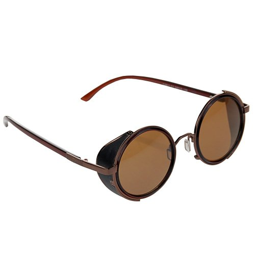 Stylish Steampunk Vintage Style 50s Round Golden & Brown Frame Glasses Blinder Sunglasses w/ - Fashioned Old Sunglasses