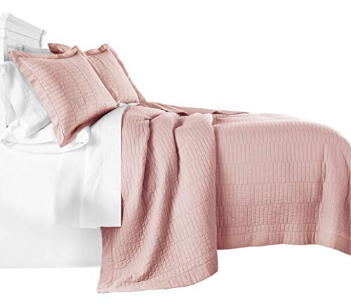 Chezmoi Collection Yuma 3-Piece Modern Stitched Pattern 100%-Cotton Pre-Washed Soft-Finished Quilt Set (King, Rose Pink)