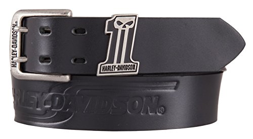 - Harley-Davidson Men's Racing #1 Uno Genuine Leather Belt, Black HDMBT11512 (38)