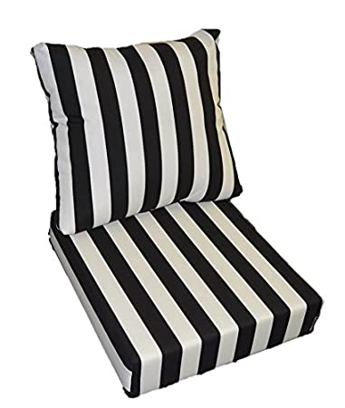 outdoor deep seat cushions Amazon.: Resort Spa Home Decor Black and White Stripe Cushions  outdoor deep seat cushions