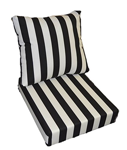 Black and White Stripe Cushions for Patio Outdoor Deep Seating Furniture Chair - Choice of Size (SEAT CUSHION - 22'' W X 22'' D / BACK CUSHION - 22'' W X 21'' D) by Resort Spa Home Decor