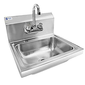 Image of GRIDMANN Commercial NSF Stainless Steel Sink Wall Mount Hand Washing Basin with Faucet Commercial Sinks
