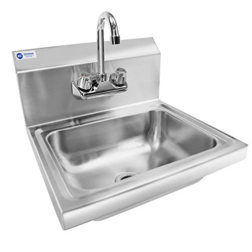 GRIDMANN Commercial NSF Stainless Steel Sink Wall Mount Hand Washing Basin with - Strainer Bar Sink Inch 1/2