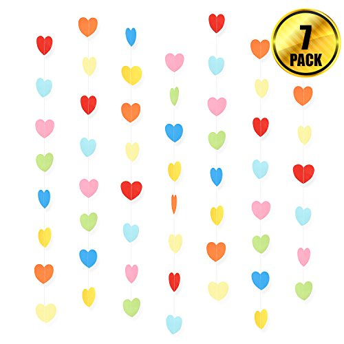 WXJ13 7 Pack Rainbow Color Birthday Paper Heart Decorations Heart Shape Garland Decorations, 41.3 Feet/13.7 Yards, Valentine's Day Wedding Party Decoration - Valentine Shape