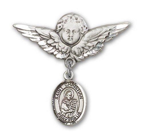 Icecarats Créatrice De Bijoux En Argent Sterling St. Démosthène Chrétien Charme Ange Broche De Badge 1 1/8 X 1 1/8