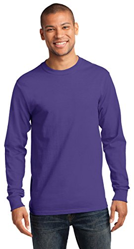 Port & Company Men's Tall Long Sleeve Essential T Shirt 2XLT Jet Black by Port & Company (Image #2)