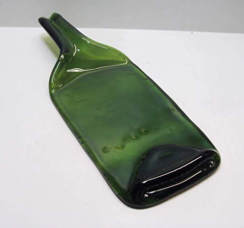 UpCycled Melted Moss Green Wine Bottle with Raised Neck Cheese Platter