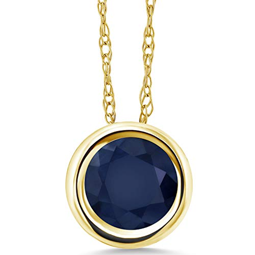 (Gem Stone King 1.10 Ct Round Blue Sapphire 14K Yellow Gold Pendant With Chain)
