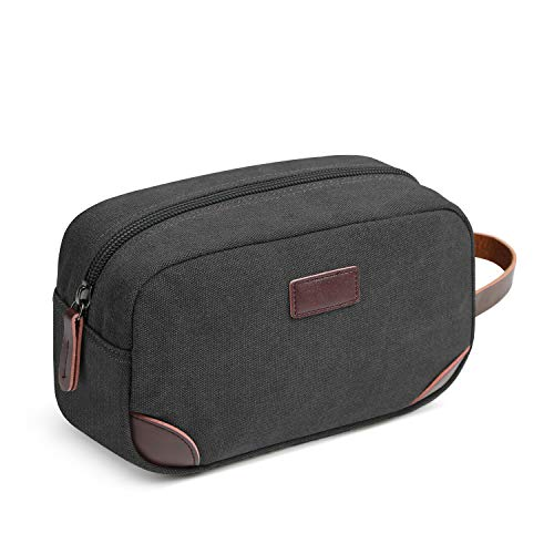 Men's Travel Toiletry Organizer Bag Canvas Shaving Dopp Kit TSA Approved (Leather Zippered Tie Case)