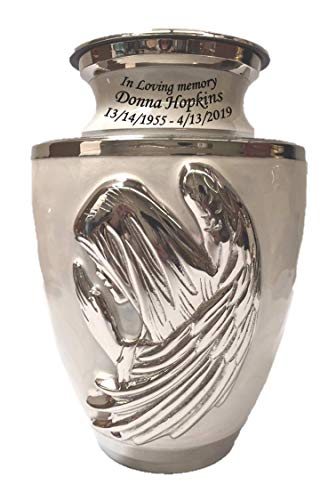 Custom Praying Angel Mother of Pearl Brass Funeral Cremation Urn, Adult Memorial Ash Urn with ()