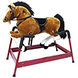Spring Horse Rocking Toy with Sound - White, Red, Black, Brown