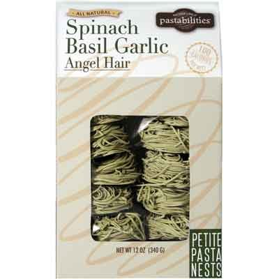 Price comparison product image Spinach Basil Garlic Angel Hair Pasta Nest, 12-ounces