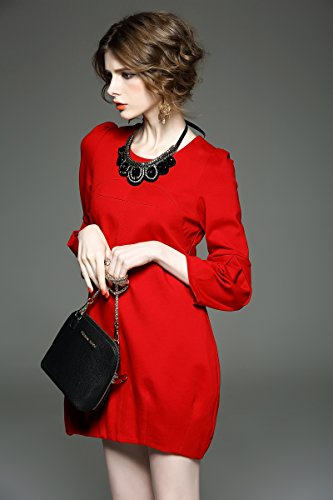 Scoop Dress Elegant Women's Sleeve Angcoco Red Neck Mini Lantern 1zpZq6Ex