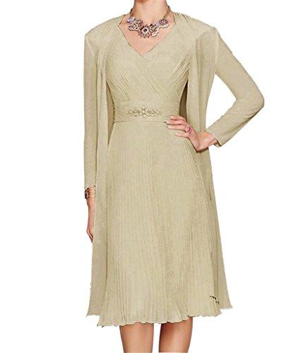 Champagner HWAN mit V eine Linie Ausschnitt Jacke Bolero Chiffon Mutter Kleid kurz Frauen der Braut 66qZnxFPR