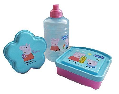Peppa Pig BPA Free 1 Plastic Water Jug Bottle(16 oz Pull-top), 1 Sandwich Box, 1 Snack Container by Zak Designs Bundle Set