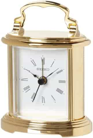 Seiko Desk and Table Alarm Carriage Clock Gold-Tone Metal Case