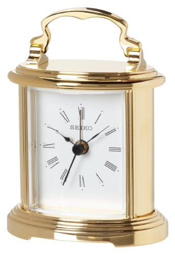 Seiko Desk and Table Alarm Carriage Clock Gold-Tone Metal Case (Seiko Brass Clock)