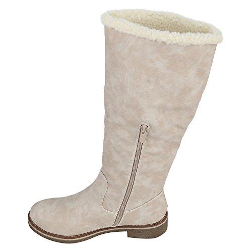 Stiefelparadies Warm Gefütterte Stiefel Damen Winterstiefel Wildleder-Optik Boots Schnallen Profilsohle Winter Schuhe Flandell Creme Agueda