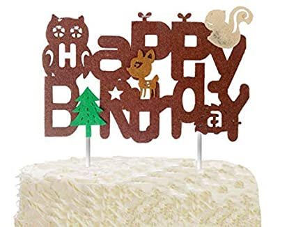 EL Woodland Creatures Cake Topper Baby Shower Party Supplies Happy Birthday