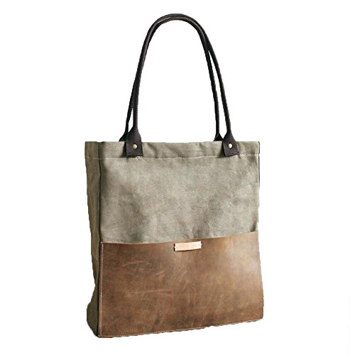 Green Tote Canvas Handbag (Fantasylinen Handcrafted Canvas and Leather Casual Tote Bag Shopper Bag Handbag in Green)