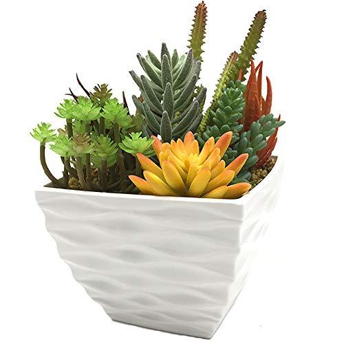 - Aisamco Artificial Pre-Made Succulent Modern Succulent Planter Pot Arrangement 7 Pcs Assorted Fake Succulent Plants in White Flower Pot Faux Potted Succulents Centerpiece