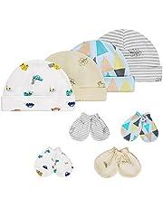 HBselect Bawełniane czapki mitenki dla noworodka chłopca dziewczynki unisex, 4 szt. czapki beanie dla niemowląt i 4 pary rękawiczek przeciw zadrapaniom z mankietami na nadgarstek (0-6 miesięcy)