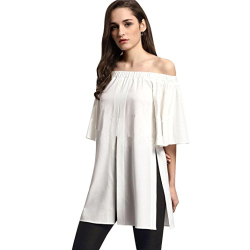 Lisingtool Women's Off Shoulder Feather Short Sleeve Top Blouse Jumper T-Shirt (X-Large, White)