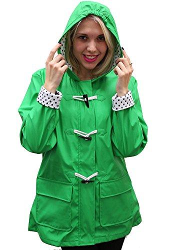 Women's Apparel No. 5 Hooded Toggle Rain Coat,Parrot ()