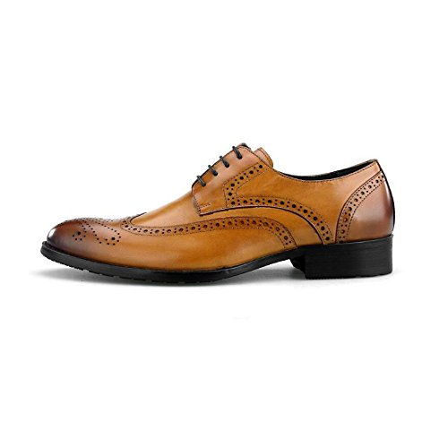Brown Oxford Pelle Shoes Casual Lace up Vera in Scarpe Brogue Wedding Dress da Uomo Business Dress aqwUZ