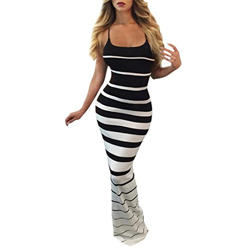 Minisoya Casual Women Striped Dress Sleeveless Bodycon Formal Cocktail Evening Party Club Long Maxi Mermaid Dress (Black, L)