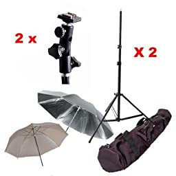 CowboyStudio Double Flash Shoe Swivel Bracket Kit with 2 Mounting Brackets, 2 Umbrellas, 2 Stand Stands, and Carry Case