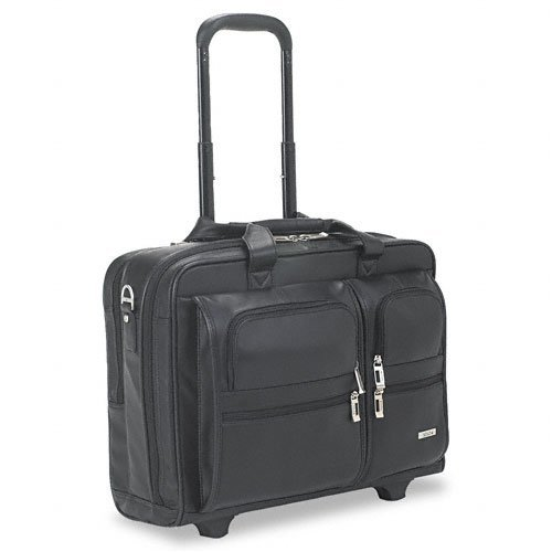 SOLO : Rolling Leather Laptop Case For Up To 15-1/2'' Laptop, Black -:- Sold as 2 Packs of - 1 - / - Total of 2 Each