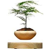 P&M, Hot Sale ABS Magnetic Suspended Plant Pot Grain Round LED Levitating Indoor Air Floating Pot for Home Office Decoration No Plant