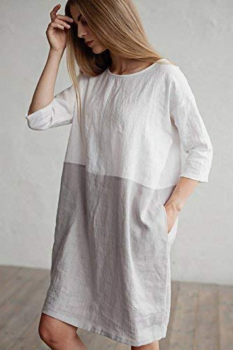 Amazon.com  MagicLinen Loose fitted linen dress. Color block dress. White  and gray linen tunic. Washed linen clothing for women. Handmade in Europe.